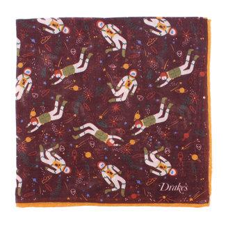 Drake's Pocket Square Burgundy Galaxy Print Wool and Silk