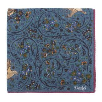 Drake's Einstecktuch Blau Vogel und Blumen Print