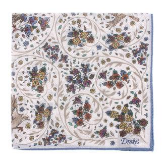 Drake's Pocket Square White Bird and Floral Print