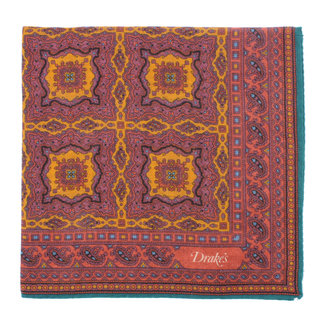 Drake's Pochet Aubergine Medaillon Print
