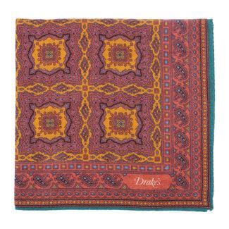 Drake's Pocket Square Aubergine Medaillon Print