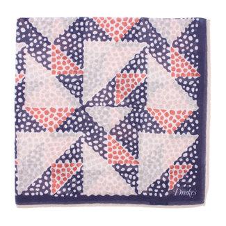 Drake's Pocket Square Navy Triangle Mosaic Print