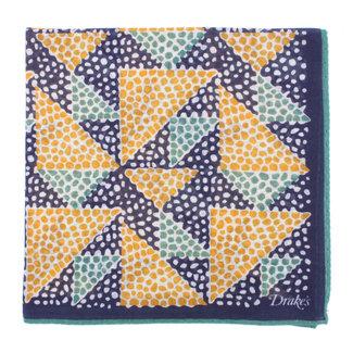 Drake's Pochet Navy Triangle Mosaic Print