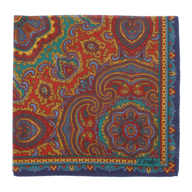 Drake's Pocket Square Red Paisley Print