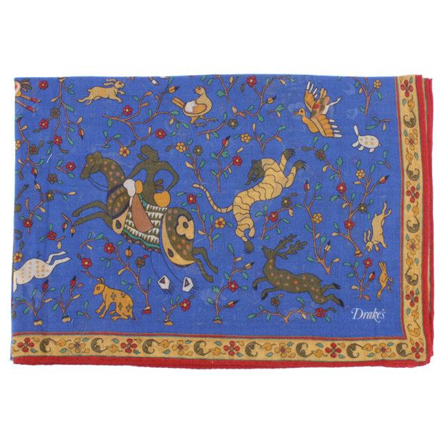 Drake's Blauer Schal mit mythischen Tieren Baumwoll-Modal-Kaschmir