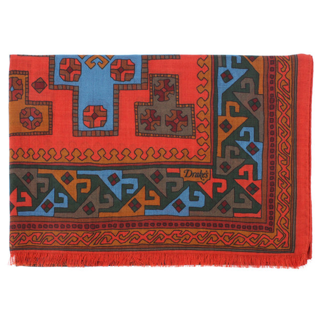 Drake's Scarf Red Kelim Print Wool and Silk