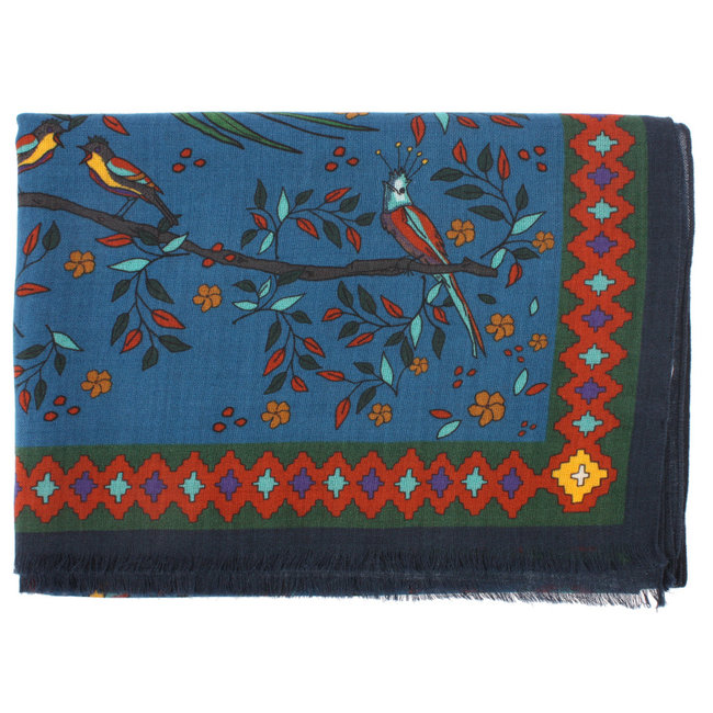Drake's Sjaal Blauw Floral Birds of Paradise Print Wol