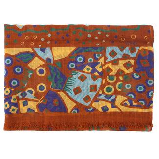 Drake's Scarf Brown African Print Wool