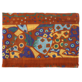 Drake's Sjaal Bruin Afrikaanse Print Wol