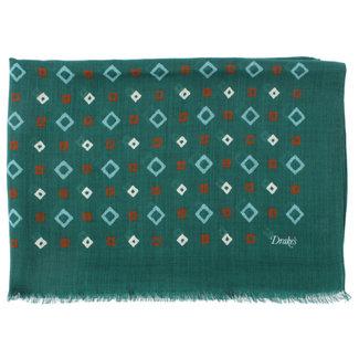 Drake's Scarf Green Diamond Pattern Print Wool