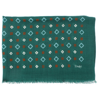 Drake's Sjaal Groen Diamant Patroon Print Wol
