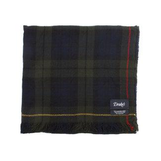 Drake's Scarf Crinkle Blackwatch Merino Wool