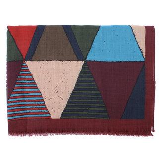 Drake's Sjaal Colour Block Triangle Print Wol