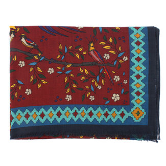 Drake's Sjaal Bordeaux Floral Birds of Paradise Print Wol