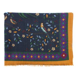 Drake's Scarf Navy Floral Birds of Paradise Print Wool
