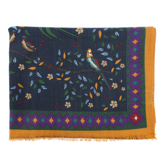 Drake's Sjaal Navy Floral Birds of Paradise Print Wol