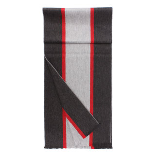 Begg & Co Lambswool Angora Scarf Fleming Grey Red