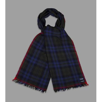 Drake's Scarf Crinkle Navy & Green Blackwatch Merino Wool