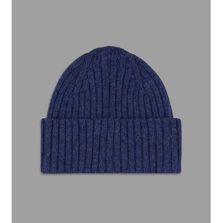 Drake's Blue Ribbed Lambswool Beanie