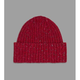 Drake's Red Donegal Ribbed Merino Beanie