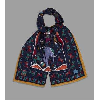 Drake's Sjaal Navy & Goud Circus Print Wol