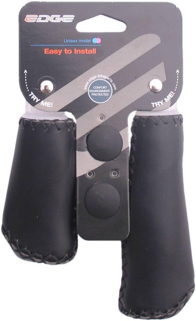 Edge Handvatset Edge Leer - Zwart - 135/92mm (winkelverpakking)
