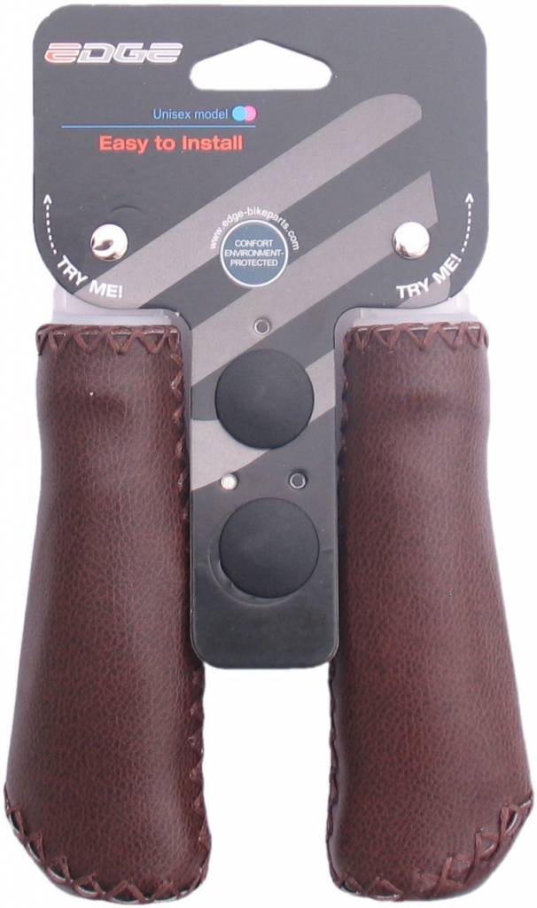 Edge Handvatset Edge Leer - Mat Donkerbruin - 2 x 135mm