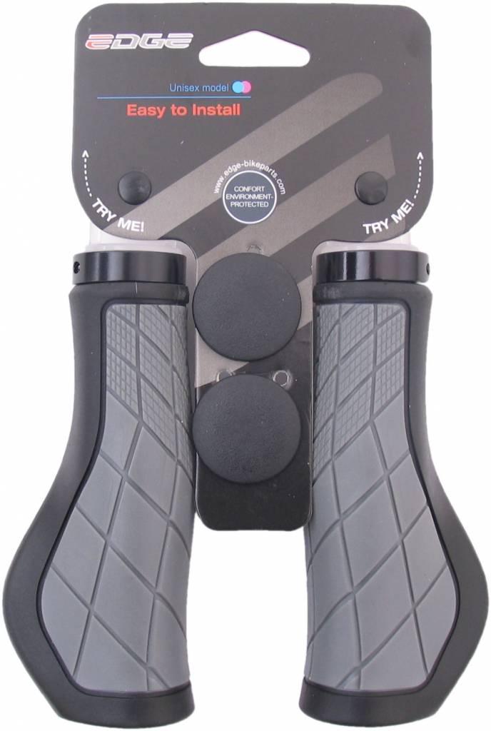 Edge Handvatset Edge ErgoCity met lockring - 2x136mm - zwart/grijs