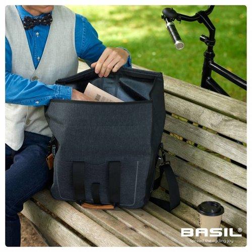 Basil Enkele fietstas Urban Dry Business Bag 20 liter - donkergrijs