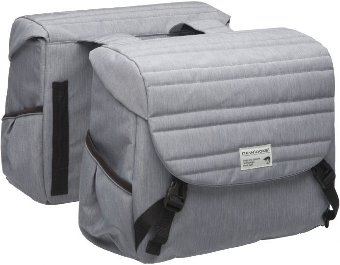 New Looxs Dubbele Fietstas New Looxs Mondi Joy Double - Quilted Grey - 38Ltr
