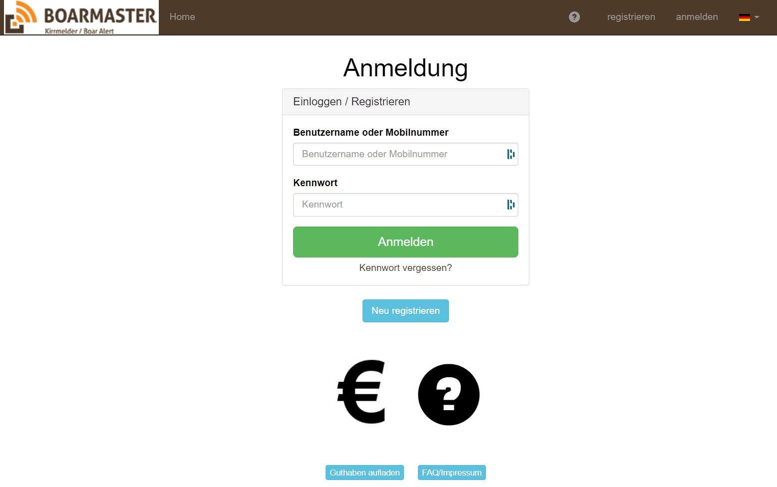 Login zur Online Verwaltung von BOARMASTER Kirrmeldern