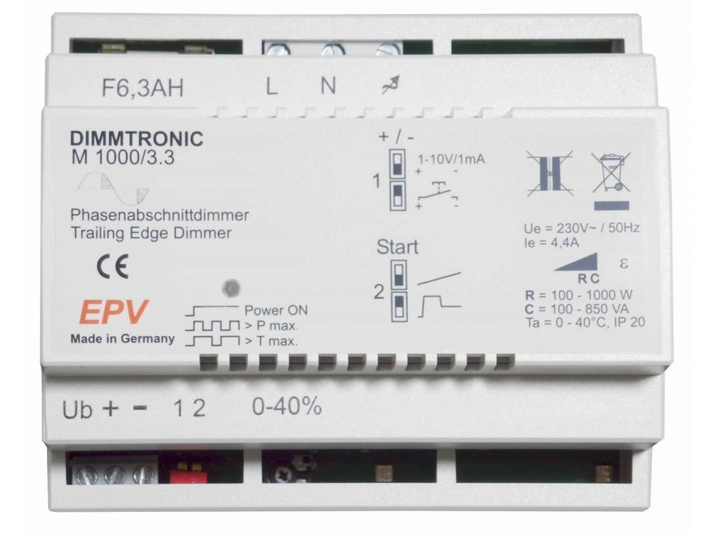 EPV DIMMTRONIC M1000/3.3 Trailing-edge dimmer. Manual Mode or 0-10V / 1-10V external dimming signal