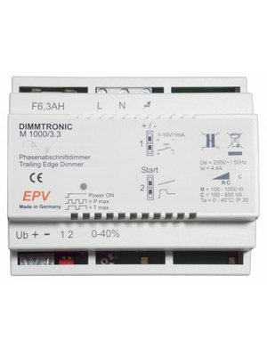 "DIMMTRONIC M1000/3.3 Trailing-edge dimmer  for ""push-button mode"" or ""sensor mode"" (any 1-10V control)."