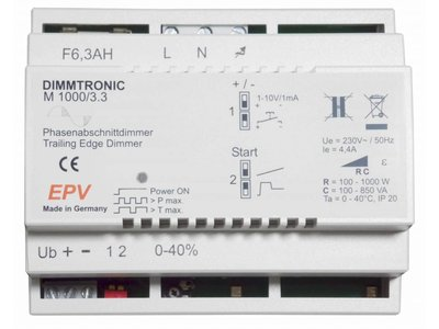 """EPV DIMMTRONIC M1000/3.3 Trailing-edge dimmer  for """"push-button mode"""" or """"sensor mode"""" (any 1-10V control)."""