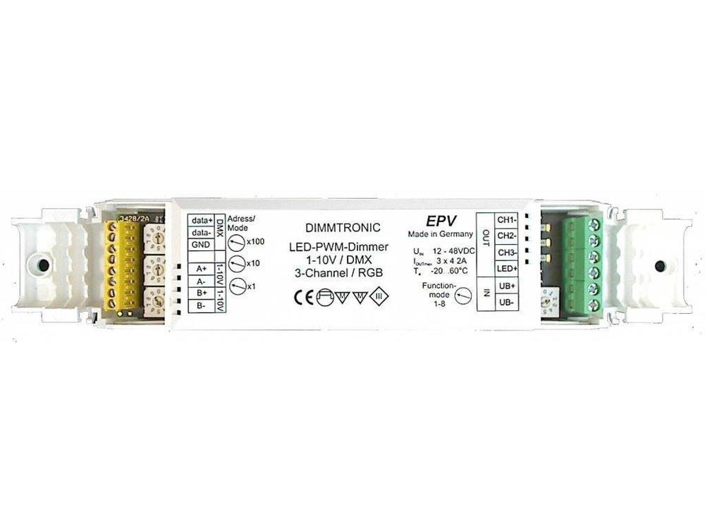 3-Kanal PWM LED-Dimmer, 1-10V und DMX, 3 x 4A