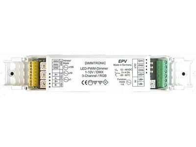 PWM LED-Dimmer, 3-channel 1-10V / DMX, 3 x 4A