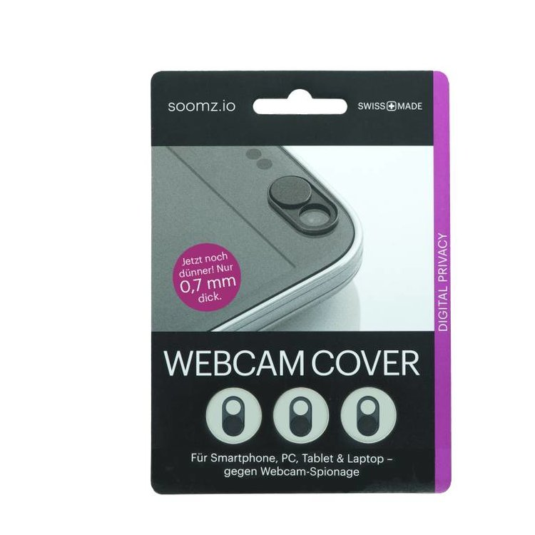 NOW EVEN THINNER! Webcam Covers | Metal black | Set of 3