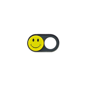 NOW EVEN THINNER! Webcam Covers | Metal black | Smiley | Set of 2