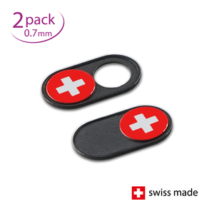 NOW EVEN THINNER! Webcam Covers | Metal black | Swiss flag | Set of 2