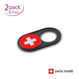 Webcam Covers | 0.7mm | Metal black | Swiss flag | Set of 2