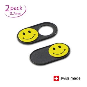 JETZT NOCH DÜNNER! Webcam Abdeckungen   Metall schwarz   Smiley   2er-Set