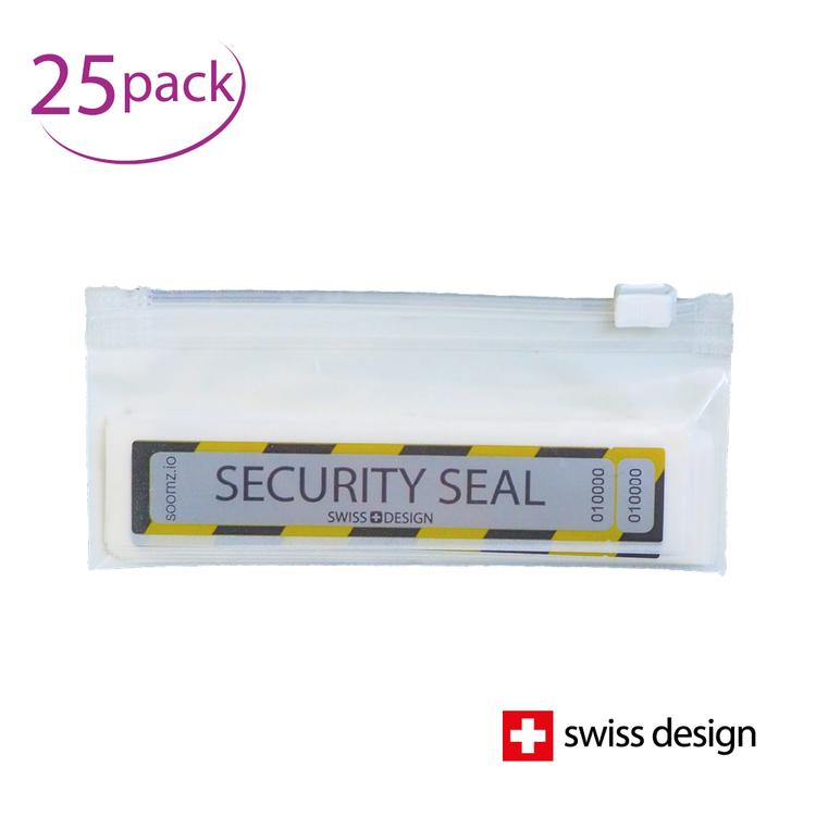 Sicherheits-Siegel | Manipulationssichere Etiketten | Macht Manipulation sofort sichtbar | 25er-Set im praktischen Etui für unterwegs