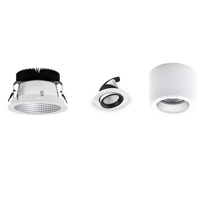 Downlights built-in and surface-mounted LED