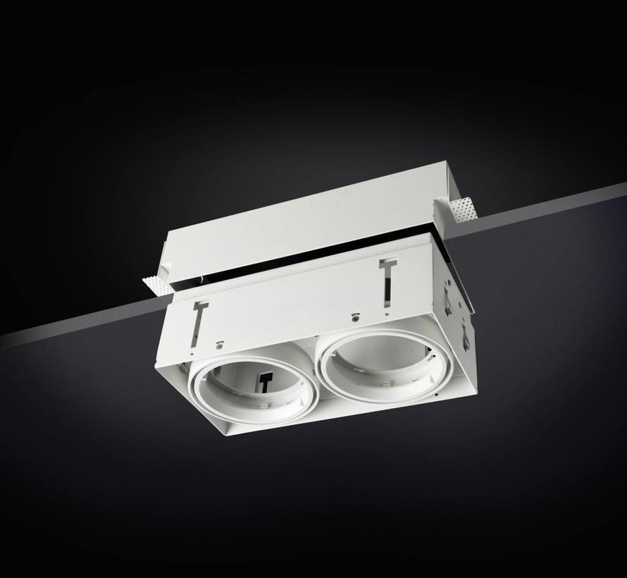 Multidir Evo S trimless inbouwspot 2-voudig voor 50mm led in wit of zwart