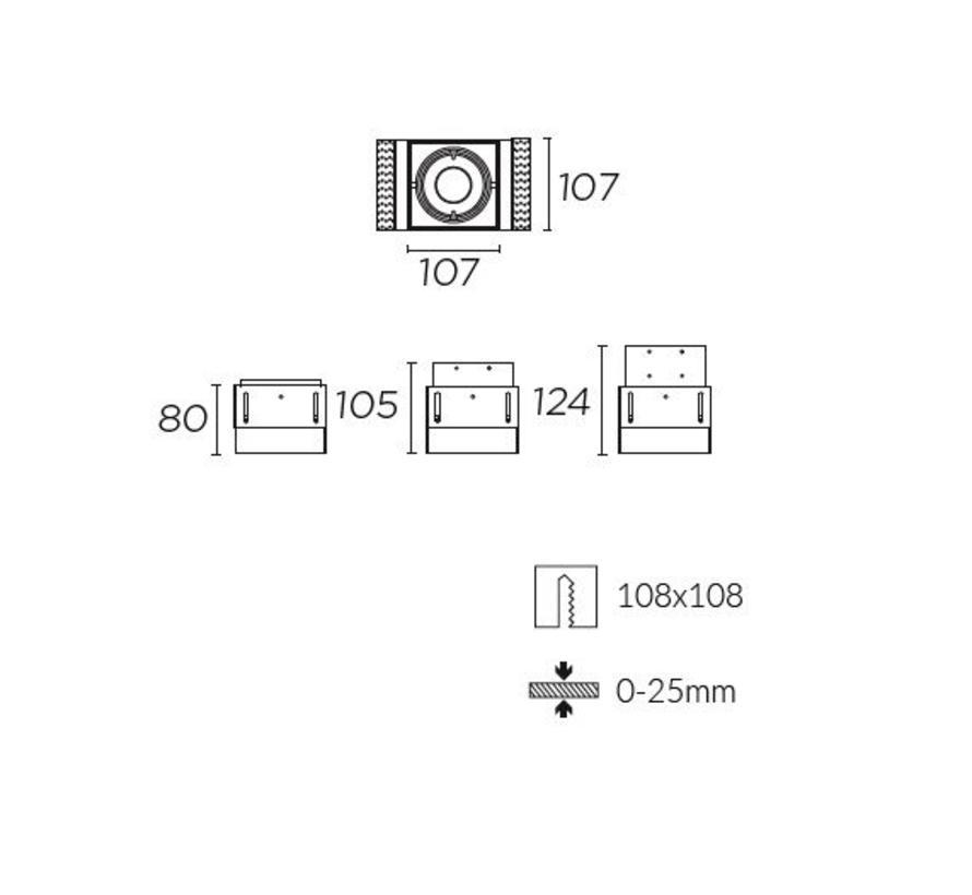 Multidir Evo S trimless inbouwspot 1-voudig voor 50mm led in wit of zwart