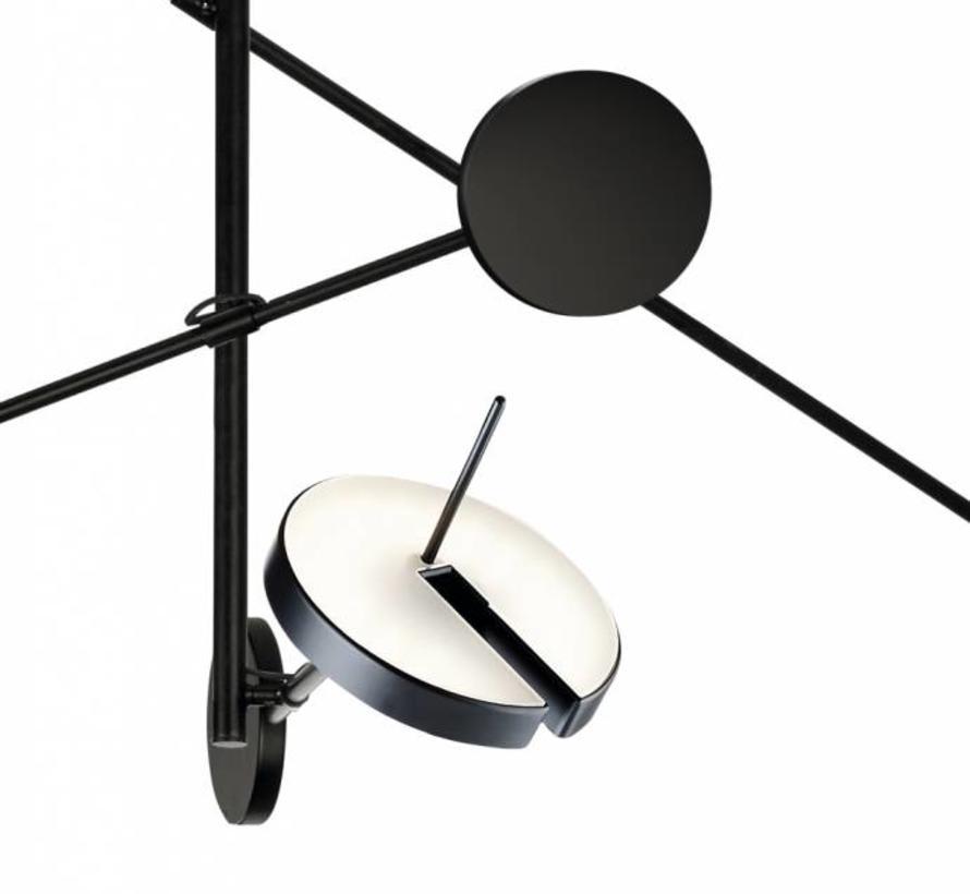 Invisble led 3-voudige hanglamp 27Watt in zwart dimbaar