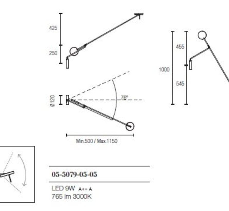 Invisible verstelbaar Led wandarmatuur 9W-2700/3000K  zwart