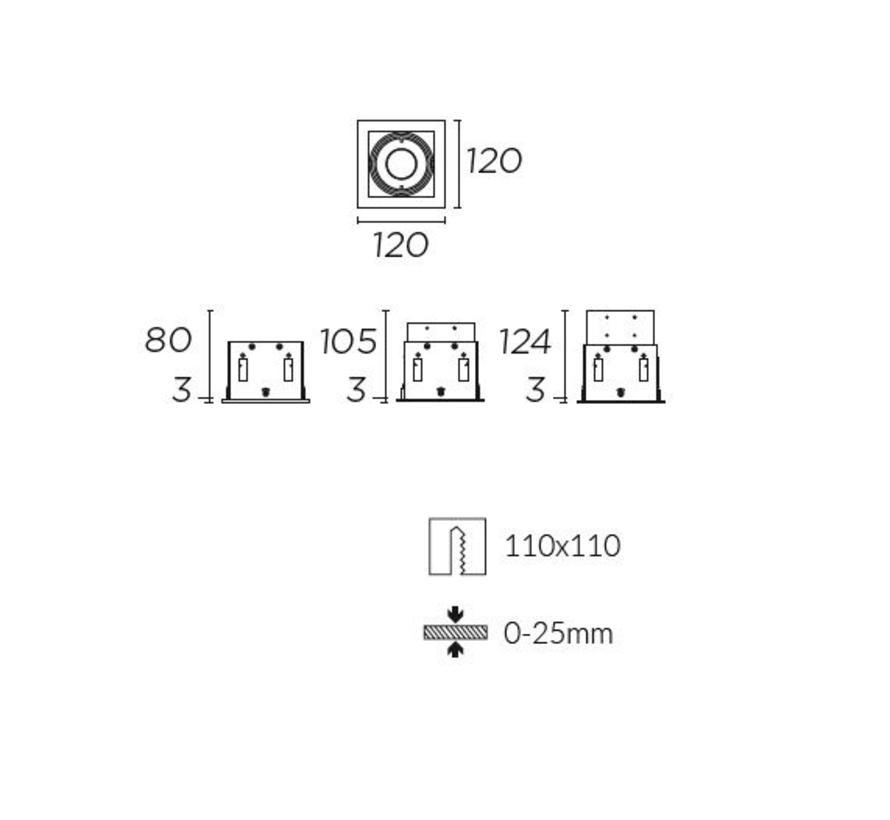 Multidir Evo S trim inbouwspot voor 50mm led in wit, zwart of alu grijs