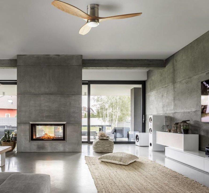 Stem plafond ventilator blank walnoothout met led verlichting