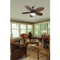Phuket plafond ventilator bruin/ bruin rotan  met optioneel verlichting